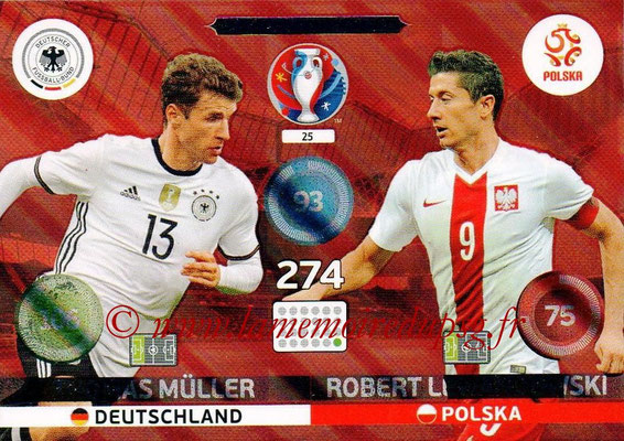 Panini Euro 2016 Cards - N° 025 - Thomas MÜLLER (Allemagne) + Robert LEWANDOWSKI (Pologne) (Friends and Foe)