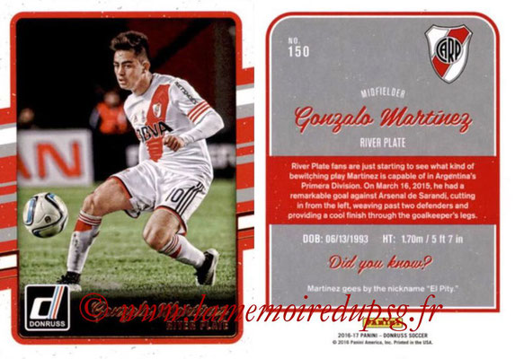 2016 - Panini Donruss Cards - N° 150 - Gonzalo MARTINEZ (River Plate)