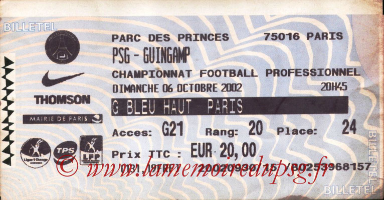 Tickets  PSG-Guingamp  2002-03