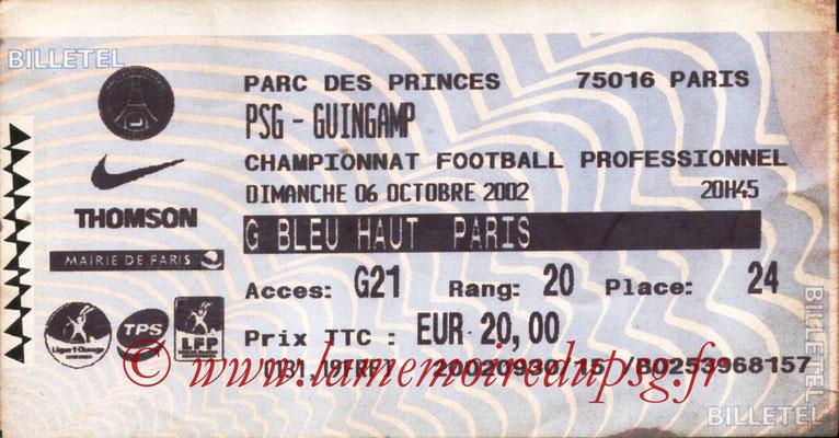 Tickets  PSG-Guingamp  2002-03