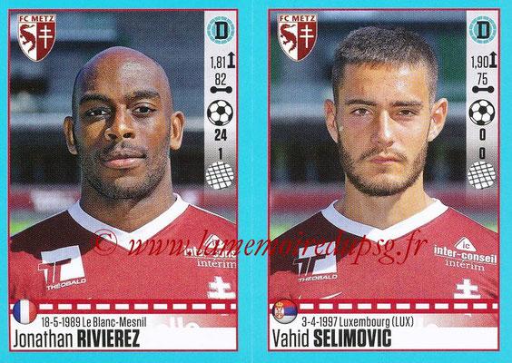 2016-17 - Panini Ligue 1 Stickers - N° 448 + 449 - Jonathan RIVIERE + Vahid SELINOVIC (Metz)