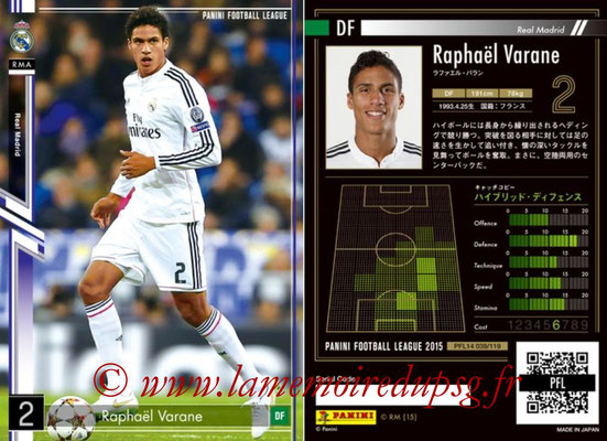 Panini Football League 2015 - PFL14 - N° 039 - Raphaêl VARANE (Real Madrid CF)