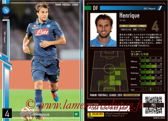 Panini Football League 2015 - PFL12 - N° 026 - HENRIQUE (SSC Napoli)