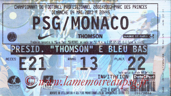 Tickets  PSG-Monaco  2002-03
