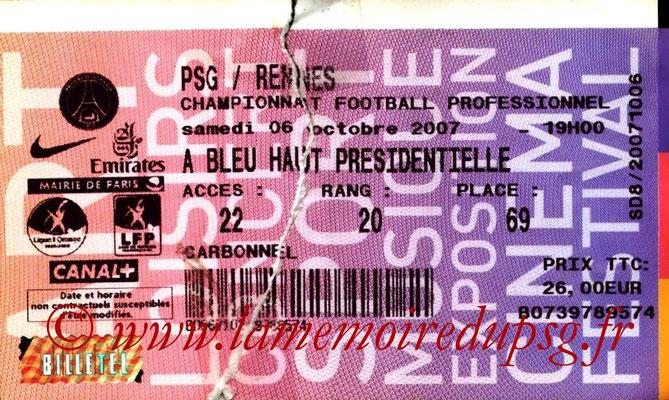 Tickets  PSG-Rennes  2007-08