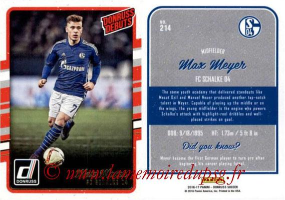 2016 - Panini Donruss Cards - N° 214 - Max MEYER (FC Schalke 04) (Donruss Debuts)
