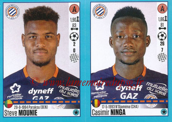2016-17 - Panini Ligue 1 Stickers - N° 546 + 547 - Steve MOUNIE + Casimir NINGA (Montpellier)