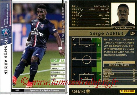 2014-15 - WCCF - N° A034 - Serge AURIER (Paris Saint-Germain)
