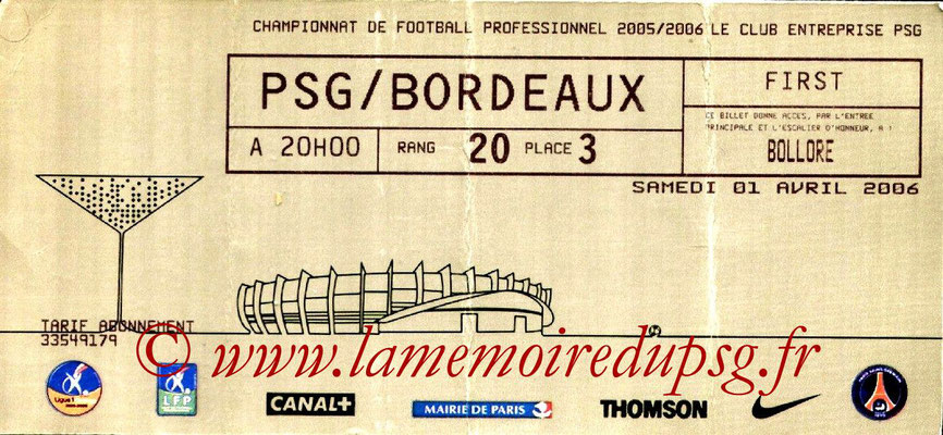 Tickets  PSG-Bordeaux  2005-06