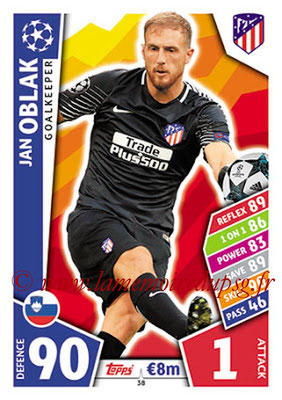2017-18 - Topps UEFA Champions League Match Attax - N° 038 - Jan OBLAK (Club Atletico de Madrid)