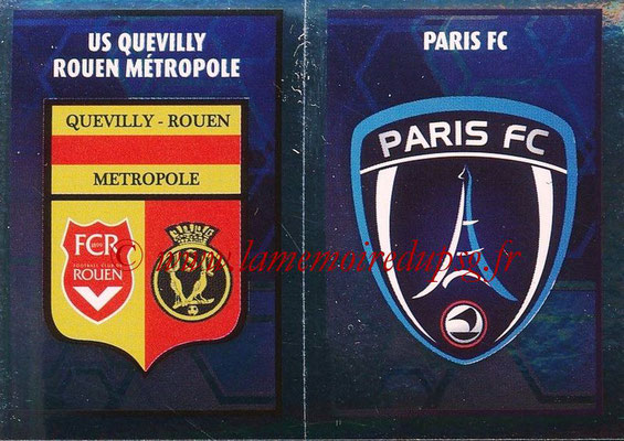2017-18 - Panini Ligue 1 Stickers - N° 562 - Ecussons Paris FC + Quevilly Rouen Métropole