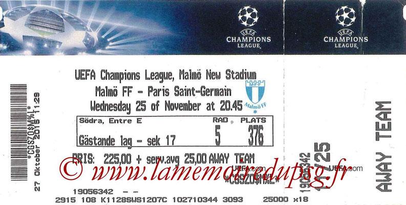 Ticket  Malmo-PSG  2014-15