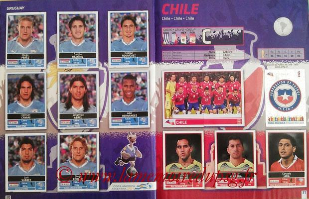 Panini Copa América Argentina 2011 - Pages 30 et 31 - Uruguay et Chili