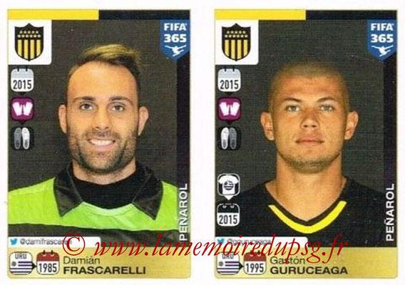 2015-16 - Panini FIFA 365 Stickers - N° 822-823 - Damián FRASCARELLI + Gastón GURUCEAGA (Penarol)