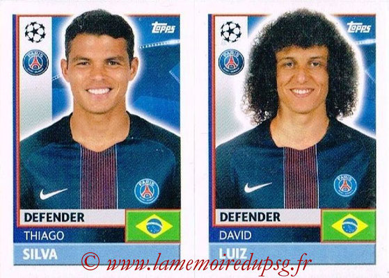 2016-17 - Topps UEFA Champions League Stickers - N° PSG 8-9 - David LUIZ + Thiago SILVA (Paris Saint-Germain)