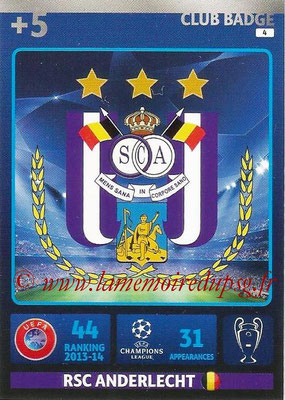 2014-15 - Adrenalyn XL champions League N° 004 - Logo RSC Anderlecht (Club Badge)