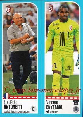 2016-17 - Panini Ligue 1 Stickers - N° 260 + 261 - Frédéric ANTONETTI + Vincent ENYEMA (Lille)