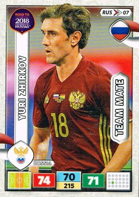 2018 - Panini Road to FIFA World Cup Russia Adrenalyn XL - N° RUS07 - Yuri ZHIRKOV (Russie)