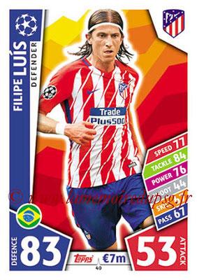 2017-18 - Topps UEFA Champions League Match Attax - N° 040 - Filipe LUIS (Club Atletico de Madrid)