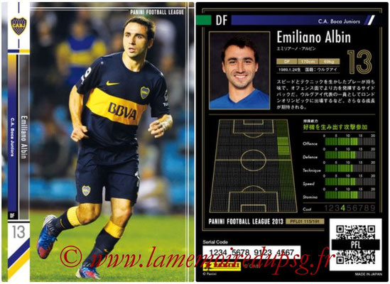 Panini Football League 2013 - PFL01 - N° 115 - Emiliano Albin ( C.A. Boca Juniors )