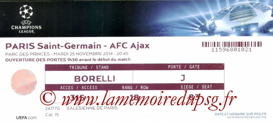 Tickets  PSG-Ajax  2014-15