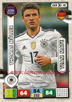 2018 - Panini Road to FIFA World Cup Russia Adrenalyn XL - N° GER18 - Thomas MÛLLER (Allemagne)