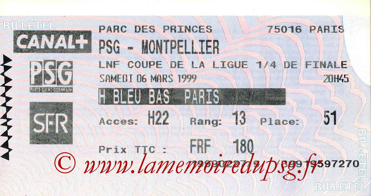 Tickets  PSG-Montpellier  1998-99