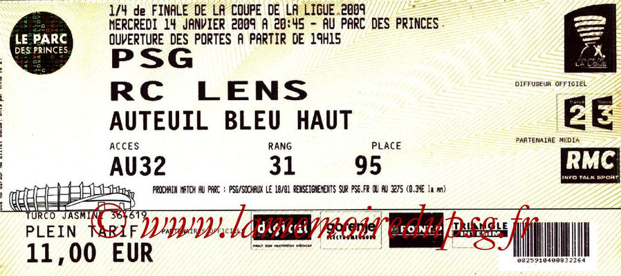 Tickets  PSG-Lens  2008-09