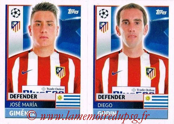 2016-17 - Topps UEFA Champions League Stickers - N° ATL 8-9 - Diego GODIN + Jose Maria GIMENEZ (Club Atletico de Madrid)