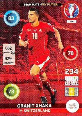 Panini Euro 2016 Cards - N° 394 - Granit XHAKA (Suisse) (Key Player)