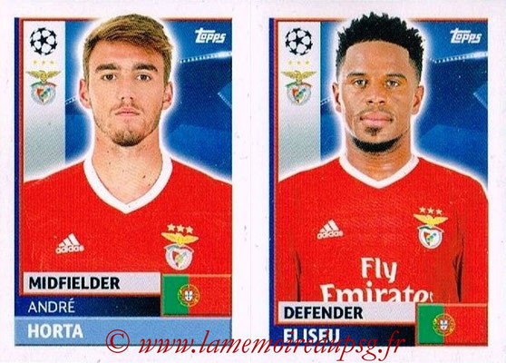 2016-17 - Topps UEFA Champions League Stickers - N° BEN 6-7 - ELISEU + André HORTA (SL BenFica)