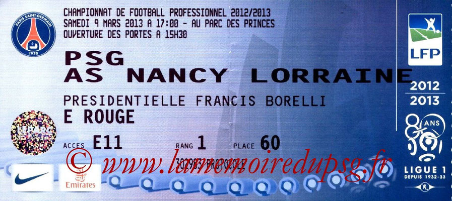 Tickets  PSG-Nancy  2012-13