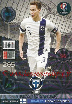 Panini Road to Euro 2016 Cards - N° LE-NM - Niklas MOISANDER (Finlande) (Limited Edition)