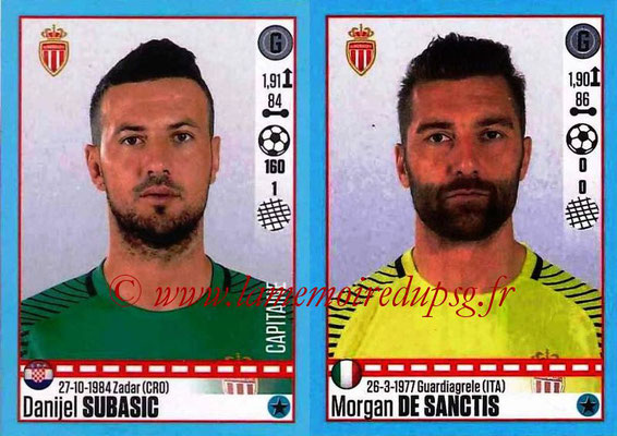 2016-17 - Panini Ligue 1 Stickers - N° 482 + 483 - Danijel SUBASIC + Morgan DE SANCTIS (Monaco)