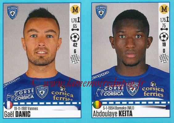 2016-17 - Panini Ligue 1 Stickers - N° 076 + 077 - Gaël DANIC + Abdoulaye KEITA (Bastia)