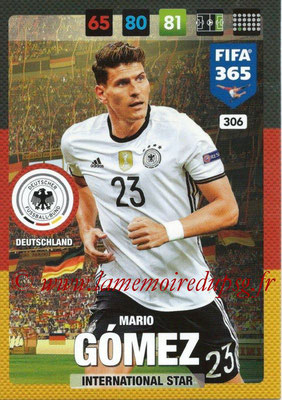 2016-17 - Panini Adrenalyn XL FIFA 365 - N° 306 - Mario GOMEZ (Allemagne) (International Star)