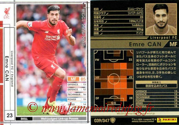 2015-16 - Panini WCCF - N° 039 - Emre CAN (Liverpool FC)