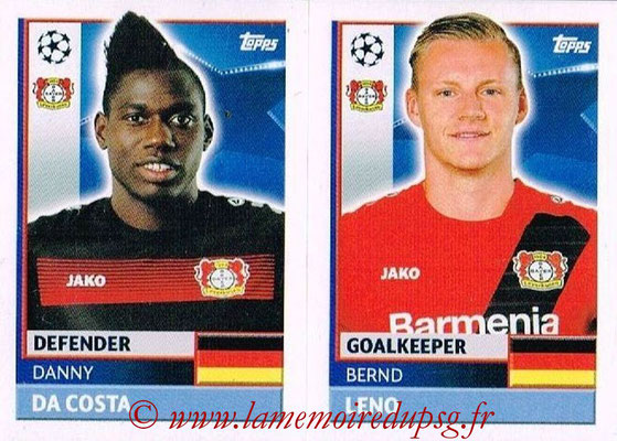 2016-17 - Topps UEFA Champions League Stickers - N° LEV 4-5 - Bernd LENO + Danny DA COSTA (Bayer 04 Leverkusen)