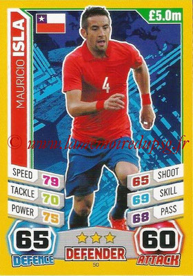 Topps Match Attax England 2014 - N° 050 - Mauricio ISLA (Chili)
