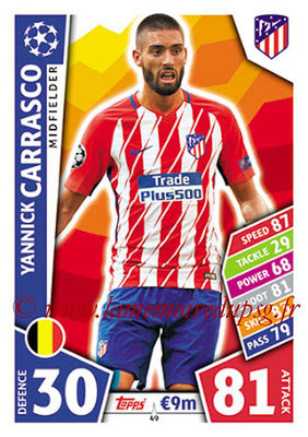 2017-18 - Topps UEFA Champions League Match Attax - N° 049 - Yannick CARRASCO (Club Atletico de Madrid)
