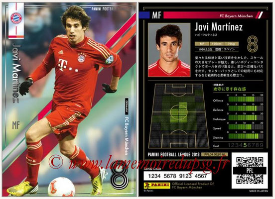 Panini Football League 2013 - PFL04 - N° 092 - Javi MARTINEZ (Bayern Munich)