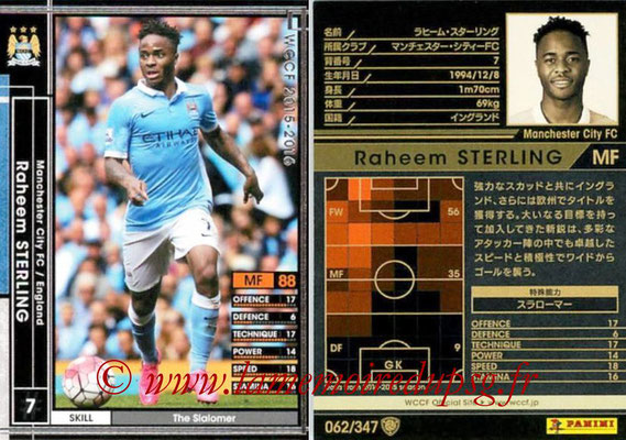 2015-16 - Panini WCCF - N° 062 - Raheem STERLING (Manchester City FC)