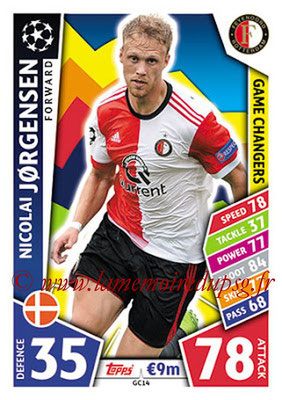 2017-18 - Topps UEFA Champions League Match Attax - N° GC14 - Nicolai JORGENSEN (Feyenord) (Game Changers)