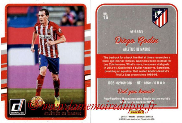 2016 - Panini Donruss Cards - N° 016 - Diego GODIN (Atlético de Madrid)