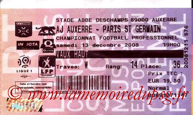 Tickets  PSG-Auxerre  2008-09