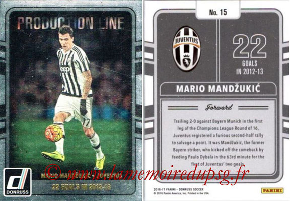 2016 - Panini Donruss Cards - N° PL15 - Mario MANDZUKIC (Juventus FC) (Production Line)