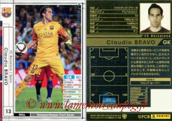 2015-16 - Panini WCCF - N° EXT01 - Claudio BRAVO (FC Barcelone) (Extra)