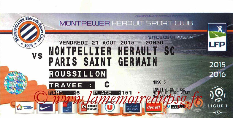 Tickets  Montpellier-PSG  2015-16