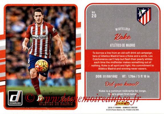 2016 - Panini Donruss Cards - N° 020 - KOKE (Atlético de Madrid)