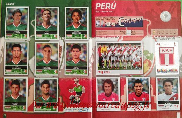 Panini Copa América Argentina 2011 - Pages 36 et 37 - Mexique et Pérou